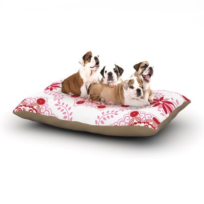 Anneline Sophia Lets Dance Floral Dog Pillow with Fleece Cozy Top Size: Small (40 W x 30 D x 8 H), Color: Red/Pink