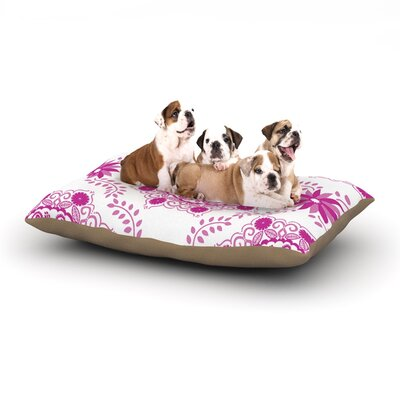 Anneline Sophia Lets Dance Floral Dog Pillow with Fleece Cozy Top Size: Small (40 W x 30 D x 8 H), Color: Pink