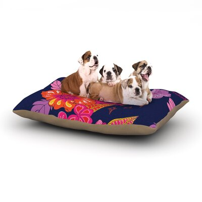 Anneline Sophia Tropical Paradise Floral Dog Pillow with Fleece Cozy Top Size: Large (50 W x 40 D x 8 H)