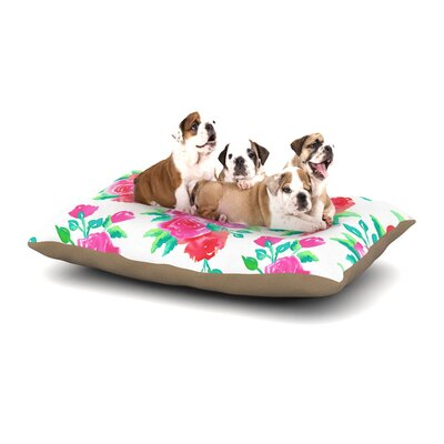 Anneline Sophia Pink Roses Magenta Floral Dog Pillow with Fleece Cozy Top Size: Small (40 W x 30 D x 8 H)