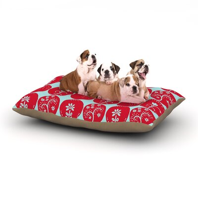 Anneline Sophia Dotty Papercut Circles Dog Pillow with Fleece Cozy Top Size: Small (40 W x 30 D x 8 H), Color: Red/Blue