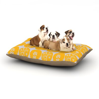 Anneline Sophia Dotty Papercut Circles Dog Pillow with Fleece Cozy Top Size: Large (50 W x 40 D x 8 H), Color: Yellow/Gray