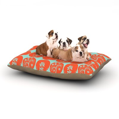 Anneline Sophia Dotty Papercut Circles Dog Pillow with Fleece Cozy Top Size: Small (40 W x 30 D x 8 H), Color: Orange/Teal