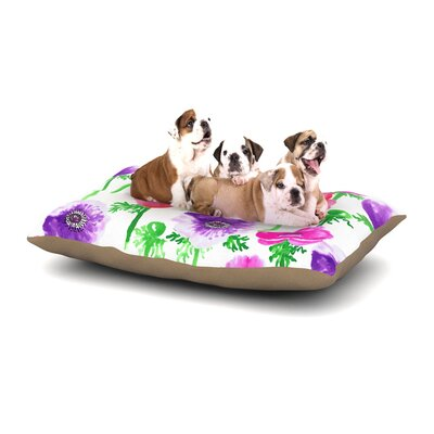 Anneline Sophia Anemones Flowers Dog Pillow with Fleece Cozy Top Size: Large (50 W x 40 D x 8 H)