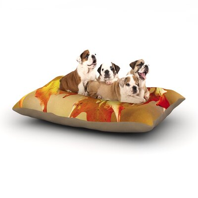 Angie Turner 'Autumn Leaves' Vibrant Dog Pillow with Fleece Cozy Top Size: Small (40