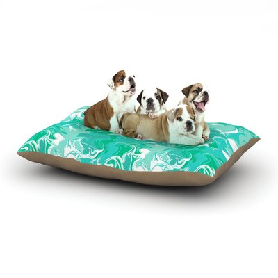 Anneline Sophia Marbleized Dog Pillow with Fleece Cozy Top Size: Large (50 W x 40 D x 8 H), Color: Teal/Aqua