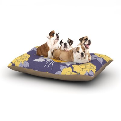Anneline Sophia Summer Rose Dog Pillow with Fleece Cozy Top Size: Large (50 W x 40 D x 8 H), Color: Yellow/Purple