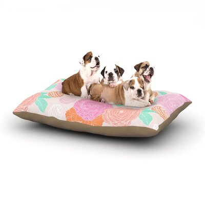 Anneline Sophia Peonies Dog Pillow with Fleece Cozy Top Size: Large (50 W x 40 D x 8 H), Color: Pink/Peach