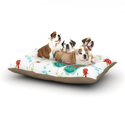 Anneline Sophia Leafy Butterflies Butterfly Dog Pillow with Fleece Cozy Top Size: Large (50 W x 40 D x 8 H), Color: Red/Aqua