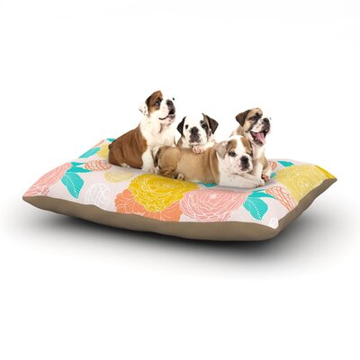 Anneline Sophia Peonies Dog Pillow with Fleece Cozy Top Size: Small (40 W x 30 D x 8 H), Color: Yellow/Pink