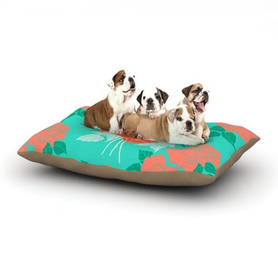 Anneline Sophia Summer Rose Dog Pillow with Fleece Cozy Top Size: Small (40 W x 30 D x 8 H), Color: Orange/Teal/Green