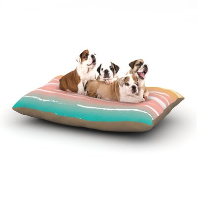 Anneline Sophia Painted Stripes Dog Pillow with Fleece Cozy Top Size: Large (50 W x 40 D x 8 H), Color: Pink/Teal