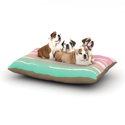 Anneline Sophia Painted Stripes Dog Pillow with Fleece Cozy Top Size: Small (40 W x 30 D x 8 H), Color: Pink/Green