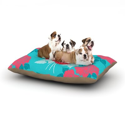 Anneline Sophia Summer Rose Dog Pillow with Fleece Cozy Top Size: Small (40 W x 30 D x 8 H), Color: Red/Blue/Aqua