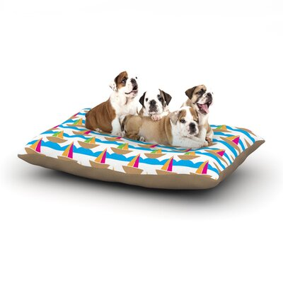 Apple Kaur Designs Beside the Seaside Boats Dog Pillow with Fleece Cozy Top Size: Small (40 W x 30 D x 8 H)