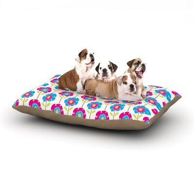 Apple Kaur Designs Lolly Flowers Dog Pillow with Fleece Cozy Top Size: Large (50 W x 40 D x 8 H)