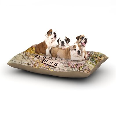 Sylvia Cook Travel Bug Map Dog Pillow with Fleece Cozy Top Size: Small (40 W x 30 D x 8 H)