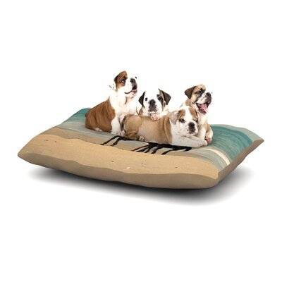 Robin Dickinson Sandy Toes Beach Horses Dog Pillow with Fleece Cozy Top Size: Large (50 W x 40 D x 8 H)