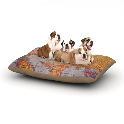 Sylvia Cook Adventure Map World Dog Pillow with Fleece Cozy Top Size: Small (40 W x 30 D x 8 H)
