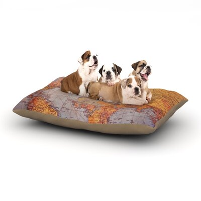 Sylvia Cook Travel Map World Dog Pillow with Fleece Cozy Top Size: Small (40 W x 30 D x 8 H)