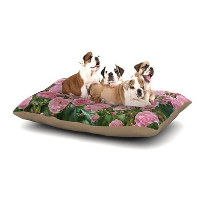 Sylvia Cook The Fairy Rose Floral Dog Pillow with Fleece Cozy Top Size: Large (50 W x 40 D x 8 H)