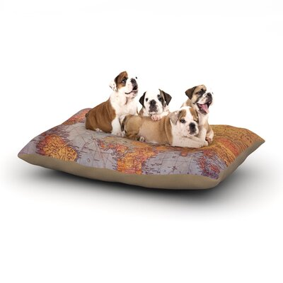 Sylvia Cook Wanderlust Map World Dog Pillow with Fleece Cozy Top Size: Large (50 W x 40 D x 8 H)