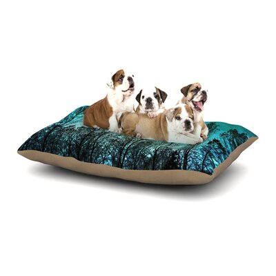 Sylvia Cook Dark Forest Trees Dog Pillow with Fleece Cozy Top Size: Small (40 W x 30 D x 8 H)