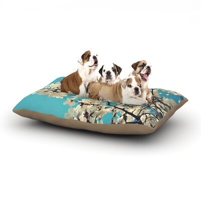 Sylvia Cook White Magnolias Dog Pillow with Fleece Cozy Top Size: Small (40 W x 30 D x 8 H)
