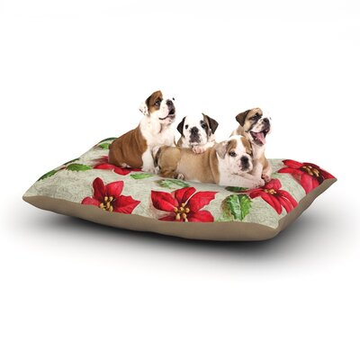Sylvia Cook Poinsettia Holiday Leaves Dog Pillow with Fleece Cozy Top Size: Large (50 W x 40 D x 8 H)