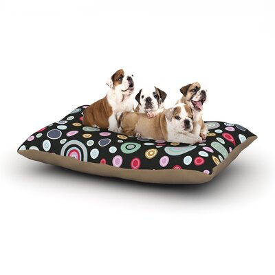 Suzanne Carter Circle Circle Dog Pillow with Fleece Cozy Top Size: Large (50 W x 40 D x 8 H), Color: Black/Multi