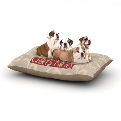 Sylvia Cook We Wish You a Merry Christmas Holiday Dog Pillow with Fleece Cozy Top Size: Small (40 W x 30 D x 8 H)