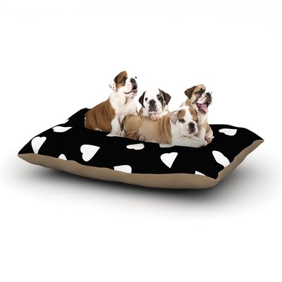 Suzanne Carter Hearts Dog Pillow with Fleece Cozy Top Size: Small (40 W x 30 D x 8 H), Color: Black/White