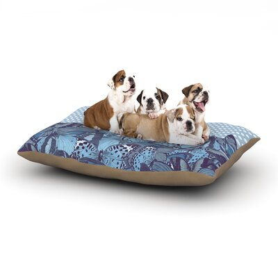 Suzanne Carter Butterfly Polka Dog Pillow with Fleece Cozy Top Size: Large (50 W x 40 D x 8 H), Color: Blue/Aqua