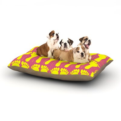Sreetama Ray Footprints Illustration Dog Pillow with Fleece Cozy Top Size: Large (50 W x 40 D x 8 H), Color: Yellow/Pink