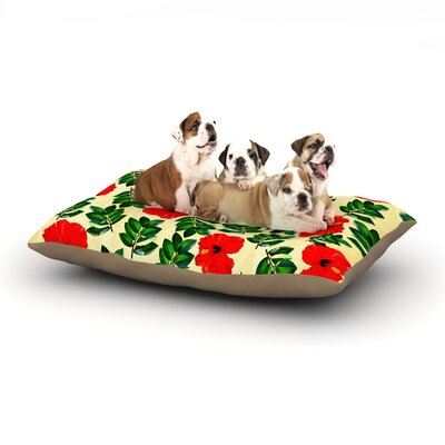 Sreetama Ray No More Peonies Dog Pillow with Fleece Cozy Top Size: Small (40 W x 30 D x 8 H)