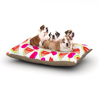 Sreetama Ray Strawberry & Watermelon Dog Pillow with Fleece Cozy Top Size: Small (40 W x 30 D x 8 H)