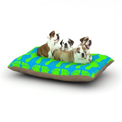 Sreetama Ray Footprints Illustration Dog Pillow with Fleece Cozy Top Size: Small (40 W x 30 D x 8 H), Color: Green/Blue/Aqua