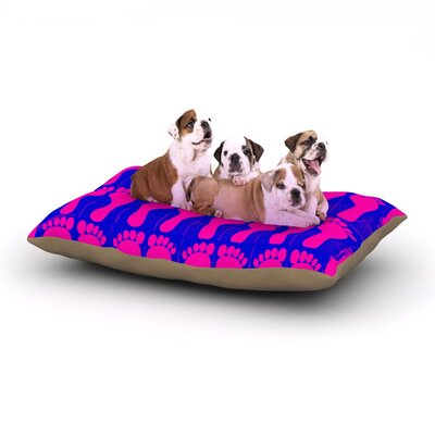 Sreetama Ray Footprints Illustration Dog Pillow with Fleece Cozy Top Size: Small (40 W x 30 D x 8 H), Color: Purple/Pink/Blue