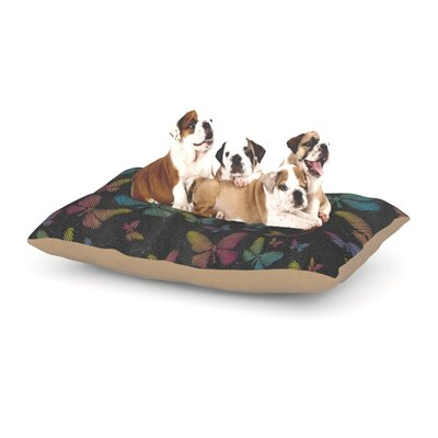 Snap Studio Butterflies II Pastel Chalk Dog Pillow with Fleece Cozy Top Size: Large (50 W x 40 D x 8 H)