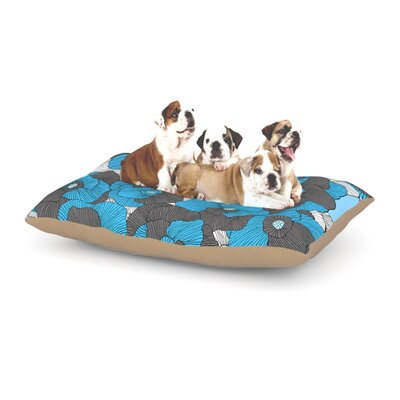 Skye Zambrana In Bloom Floral Dog Pillow with Fleece Cozy Top Size: Small (40 W x 30 D x 8 H), Color: Blue/Gray