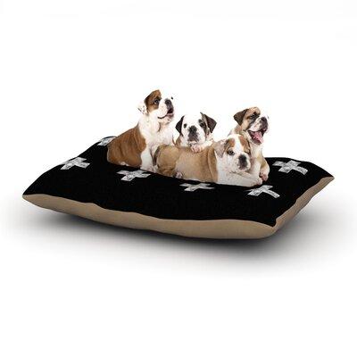 Skye Zambrana Swiss Cross Black Simple Dark Dog Pillow with Fleece Cozy Top