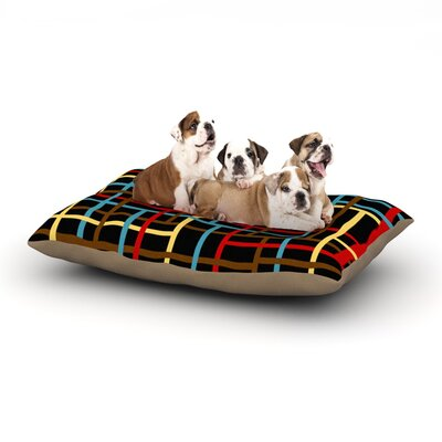 Trebam Veza Lines Dog Pillow with Fleece Cozy Top Size: Large (50 W x 40 D x 8 H), Color: Red/Black/Blue