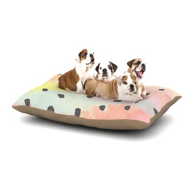 Strawberringo With Dots Pastel Painting Dog Pillow with Fleece Cozy Top Size: Large (50 W x 40 D x 8 H)