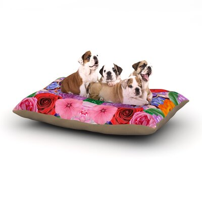 Vasare Nar Kaleidoscopic Flowers Dog Pillow with Fleece Cozy Top Size: Small (40 W x 30 D x 8 H)