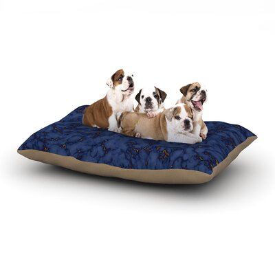 Will Wild Blue & Gold Marble Abstract Dog Pillow with Fleece Cozy Top Size: Large (50 W x 40 D x 8 H)