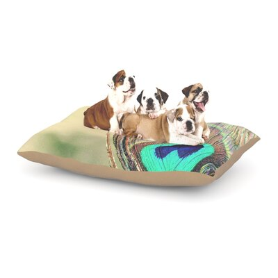 Beth Engel Sun Kissed Peacock Feather Dog Pillow with Fleece Cozy Top Size: Large (50 W x 40 D x 8 H)