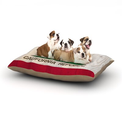 Bruce Stanfield California Flag Wood Dog Pillow with Fleece Cozy Top Size: Small (40 W x 30 D x 8 H)