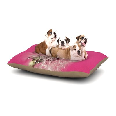Beth Engel Pink Twilight Magenta Dandelion Dog Pillow with Fleece Cozy Top Size: Small (40 W x 30 D x 8 H)