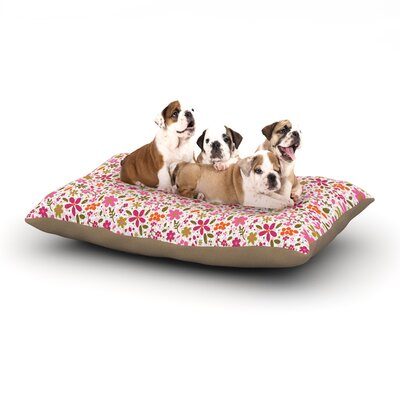 Carolyn Greifeld Pink Flowers Garden Dog Pillow with Fleece Cozy Top Size: Large (50 W x 40 D x 8 H)
