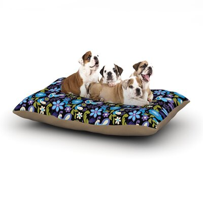 Carolyn Greifeld Purple & Blue Florals Dog Pillow with Fleece Cozy Top Size: Large (50 W x 40 D x 8 H)